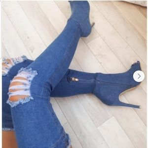 Over the knee distressed denim open toe boots